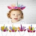 wholesale baby girls kids doll flower rabbit ear unicorn horn headband  6