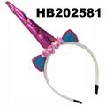 wholesale baby girls kids doll flower rabbit ear unicorn horn headband  8