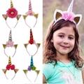 wholesale baby girls kids doll flower rabbit ear unicorn horn headband  9