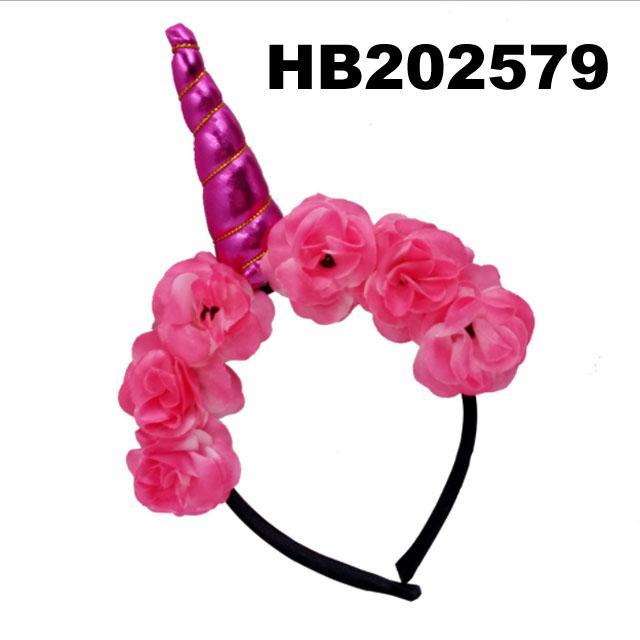 wholesale fashion flower unicorn horn hair band 1