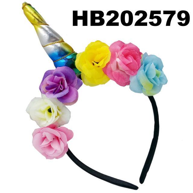 wholesale fashion flower unicorn horn hair band 2