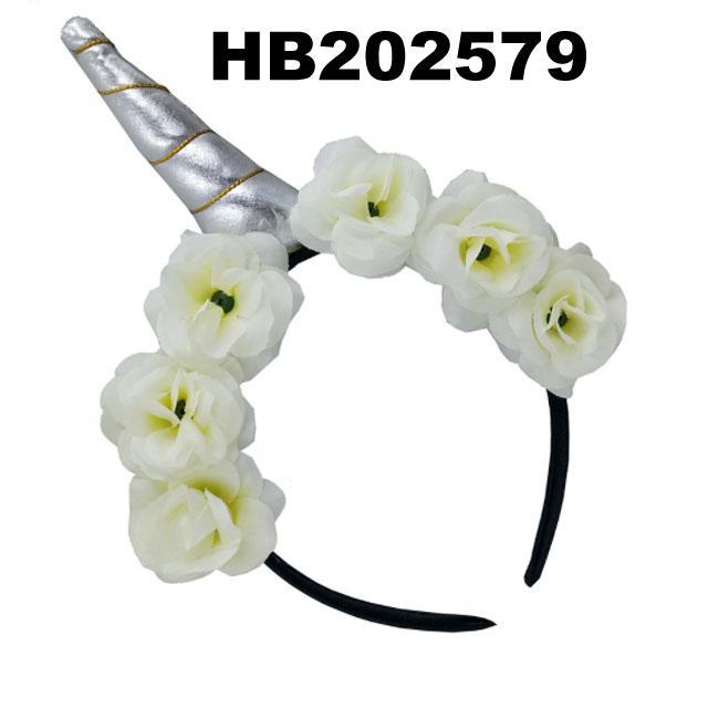 wholesale fashion flower unicorn horn hair band 4