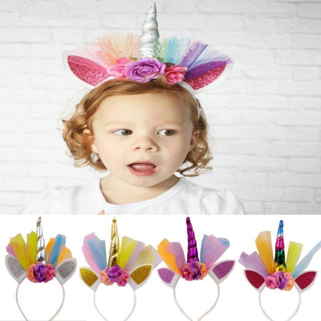 wholesale fashion flower unicorn horn hair band 7