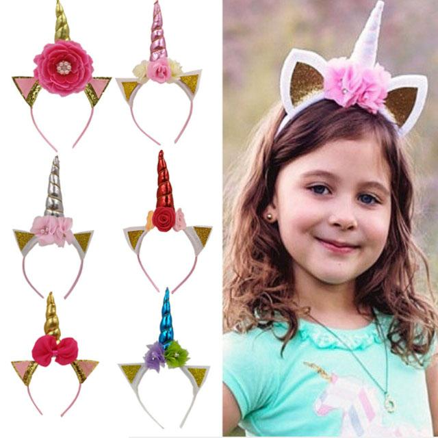 wholesale fashion flower unicorn horn hair band 10