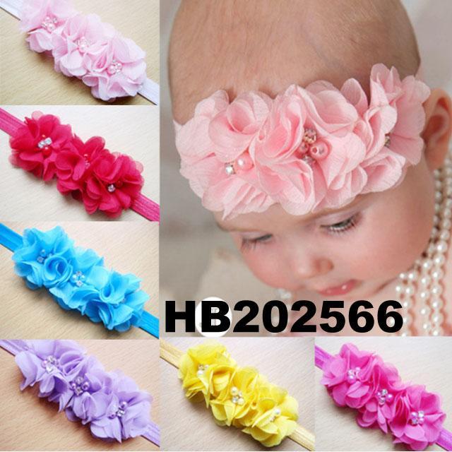 wholesale beautiful chiffon flower elastic baby hair band wholesale 1