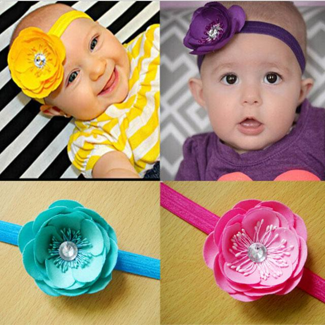 wholesale beautiful chiffon flower elastic baby hair band wholesale 10