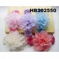 fashion milk silk bow flower elastic baby hairband wholesale 5