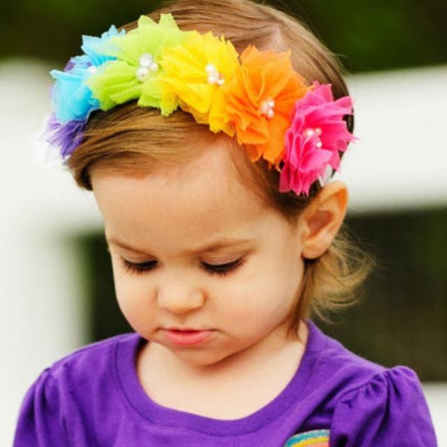 fashion milk silk bow flower elastic baby hairband wholesale 6