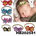 fashion milk silk bow flower elastic baby hairband wholesale 7