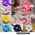 fashion milk silk bow flower elastic baby hairband wholesale 8