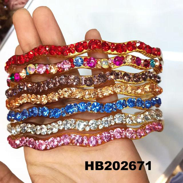 wholesale multi color crystal stone plastic hair band 15