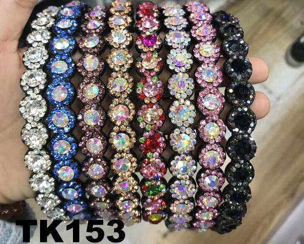 fashion diamante multi colored crystal stone flower plastic headband wholesale 1