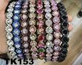 fashion diamante multi colored crystal stone flower plastic headband wholesale