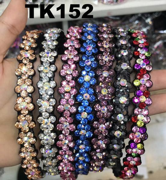 fashion diamante multi colored crystal stone flower plastic headband wholesale 2