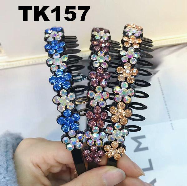 fashion diamante multi colored crystal stone flower plastic headband wholesale 3