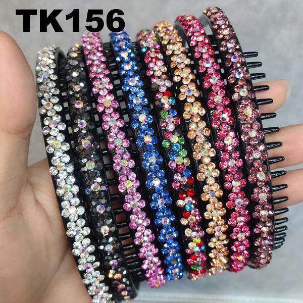 fashion diamante multi colored crystal stone flower plastic headband wholesale 6