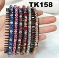 fashion diamante multi colored crystal stone flower plastic headband wholesale 8