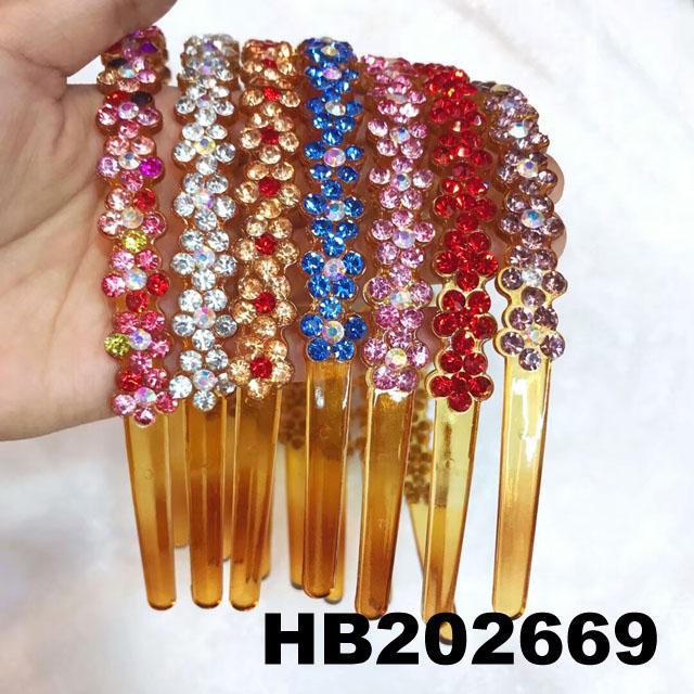 fashion diamante multi colored crystal stone flower plastic headband wholesale 10