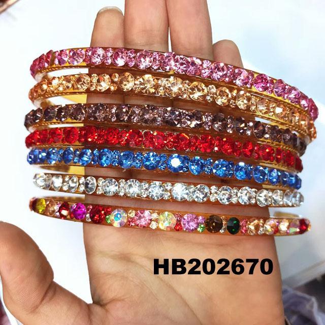 fashion diamante multi colored crystal stone flower plastic headband wholesale 11
