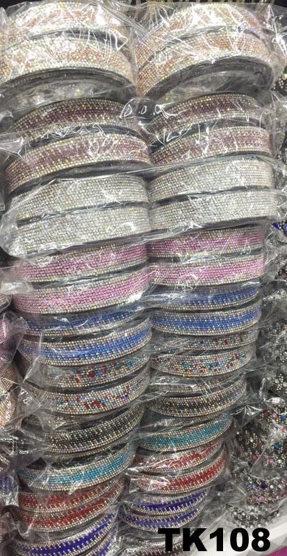 fashion diamante multi colored crystal stone flower plastic headband wholesale 14