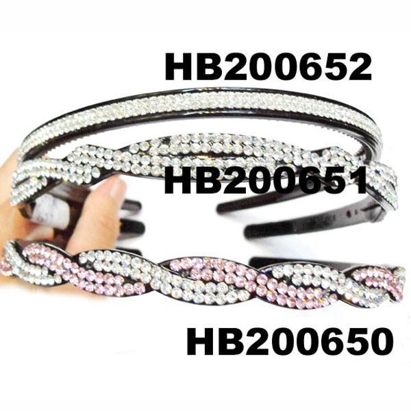 women ladies girls clear crystal stone plastic headband wholesale 5