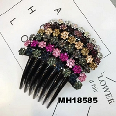 women ladies crystal stone flower plastic hair combs wholesale
