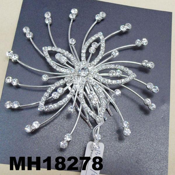 wedding bridal crystal stone flower metal hair comb 1