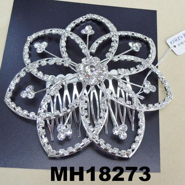wedding bridal crystal stone flower metal hair comb 2