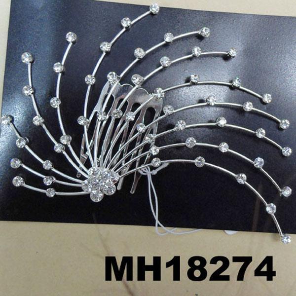 wedding bridal crystal stone flower metal hair comb 9