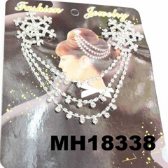 wedding bridal crystal stone double snowflake butterfly flower metal hair comb