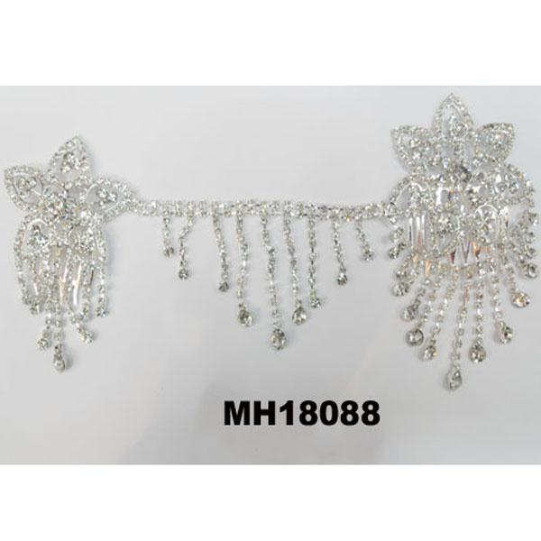 wedding bridal crystal stone double snowflake butterfly flower metal hair comb 7