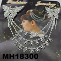 wedding bridal crystal stone double snowflake butterfly flower metal hair comb 11