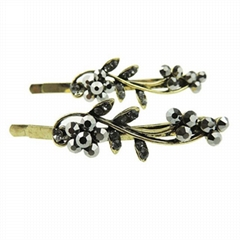 women girls antique crystal stone flower metal hair pin wholesale