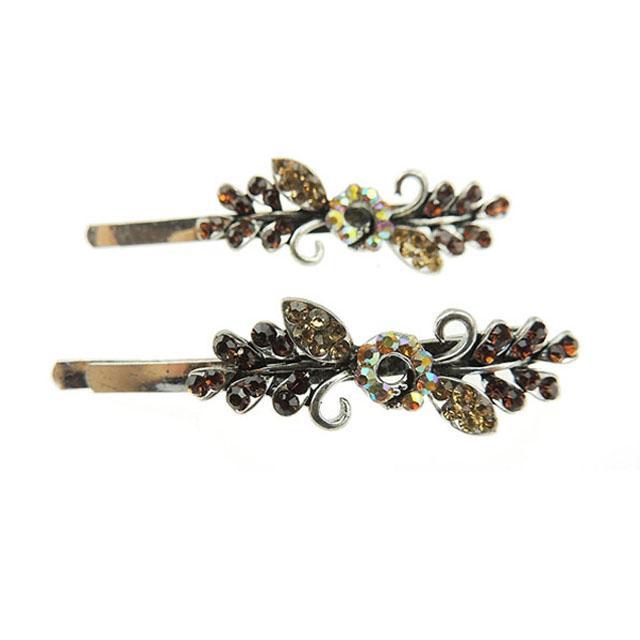 women girls antique crystal stone flower metal hair pin wholesale 2