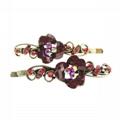 women girls antique crystal stone flower metal hair pin wholesale 3