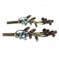 women girls antique crystal stone flower metal hair pin wholesale 4