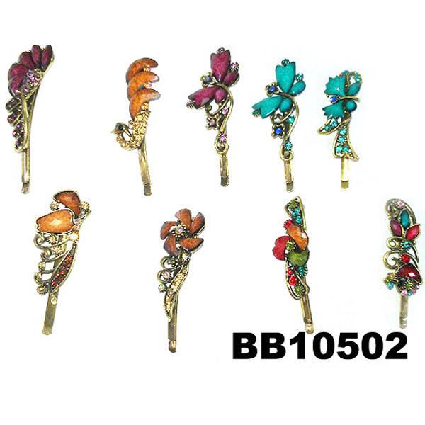 women girls antique crystal stone flower metal hair pin wholesale 10