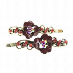 antique crystal stone flower metal hair clips wholesale