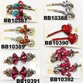 antique crystal stone flower metal hair clips wholesale 4