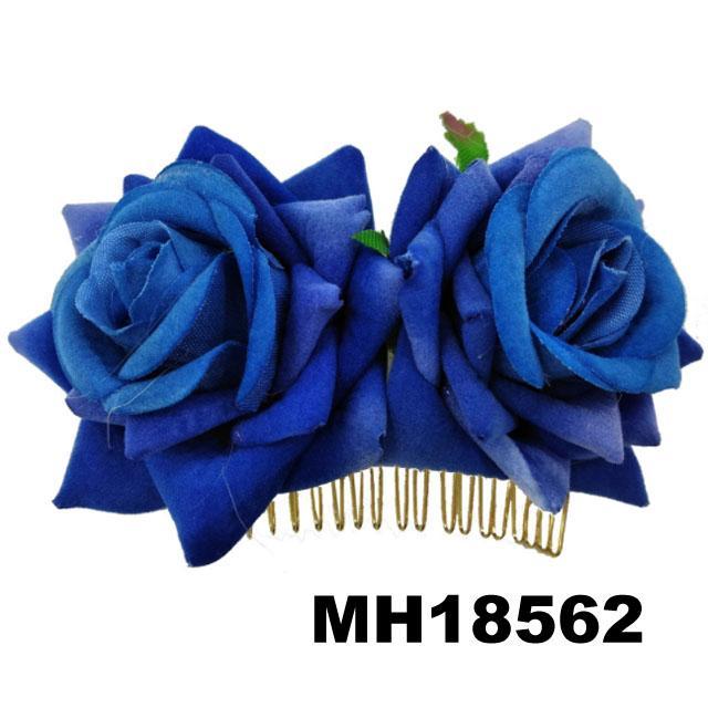 fashion women fabric rose flower hair flower comb wholesale 1