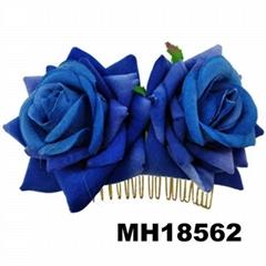 fashion women fabric rose flower hair flower comb wholesale