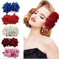 fashion women fabric rose flower hair flower comb wholesale 4