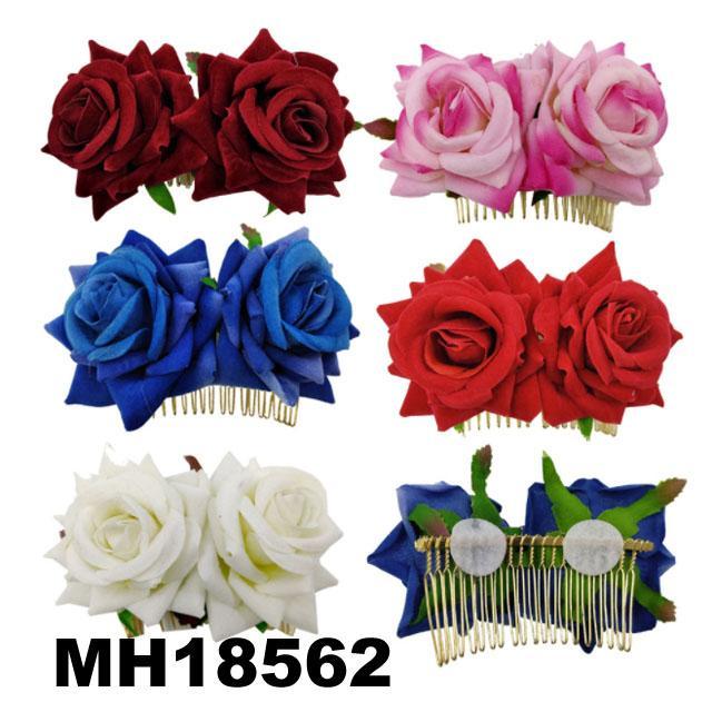 fashion women fabric rose flower hair flower comb wholesale 2