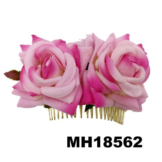 fashion women fabric rose flower hair flower comb wholesale 3