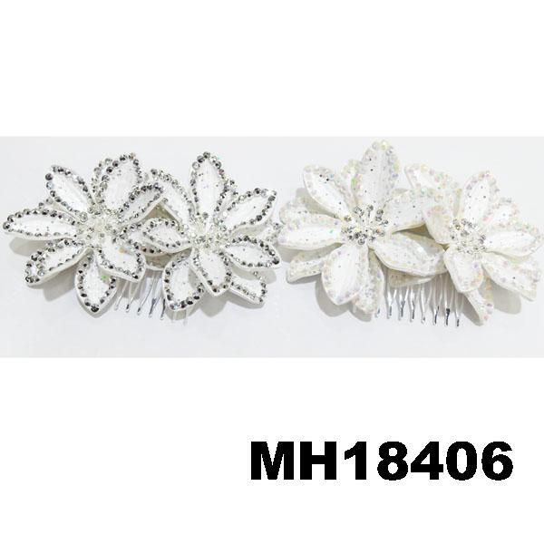 fashion women fabric rose flower hair flower comb wholesale 6