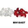 fashion women fabric rose flower hair flower comb wholesale 9