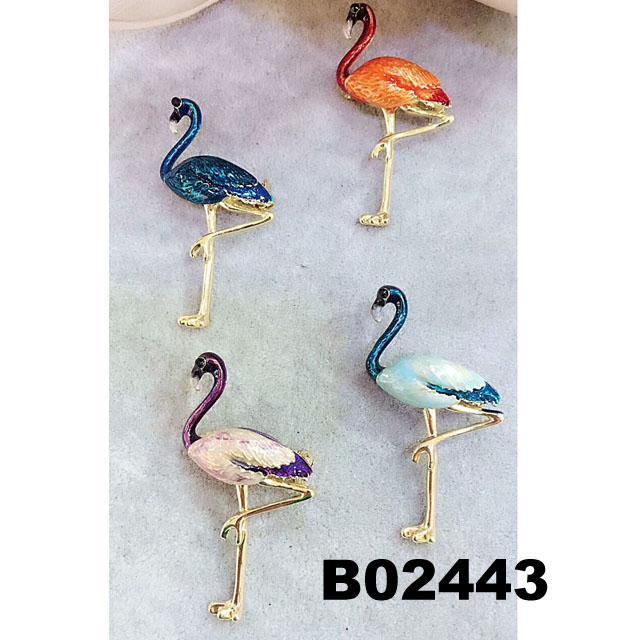 fashion korean crystal stone flamingo brooch pins wholesale 1