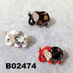 korean crystal stone elephant animal brooch ouch pin