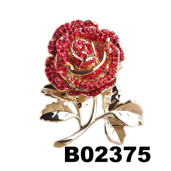 wholesale fashion women girls crystal stone rose flower brooch ouch 1