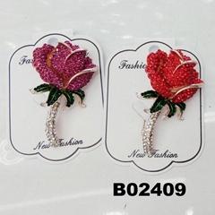 fancy women girls crystal stone rose flower brooches wholesale